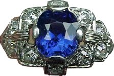 Kashmir Sapphire and Old European Diamond Estate Platinum Ring