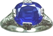 Kashmir sapphire and Edwardian platinum diamond ring