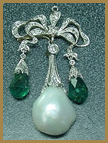 natural pearl and emerald platinum brooch